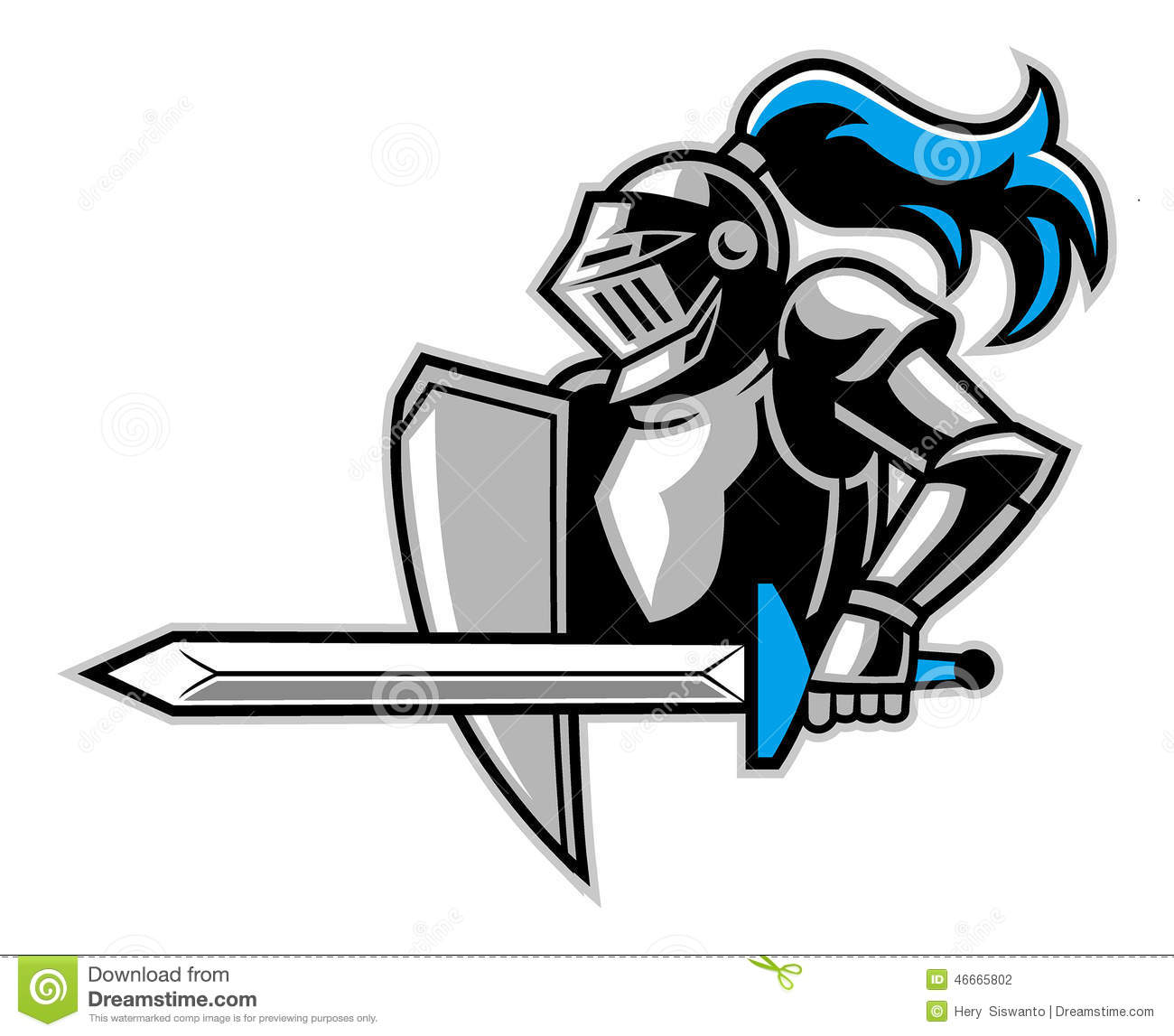 Knight with a big sword stock vector. Illustration of mascot.