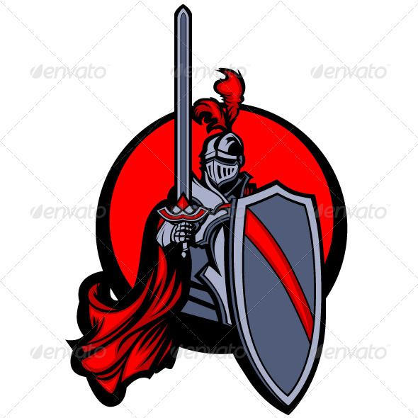 Medieval Knight with Sword and Shield Vector Masco.