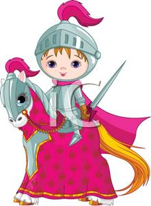 Clip Art Image: A Child Knight Riding a Horse.