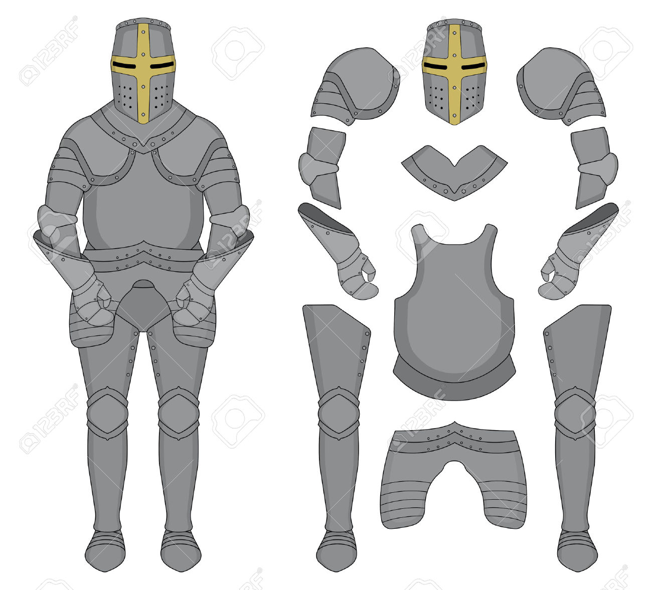 Medieval Templar Knight Armor Set. Helmet, Shoulders, Gloves.
