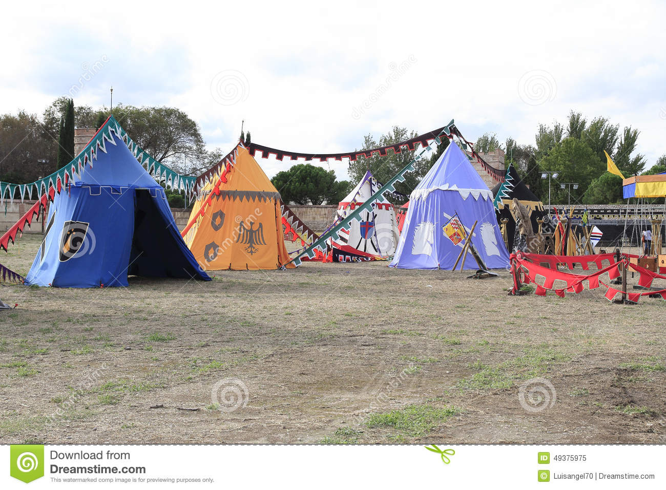 Medieval Military Camp Guarded By Knights Illustration Stock.