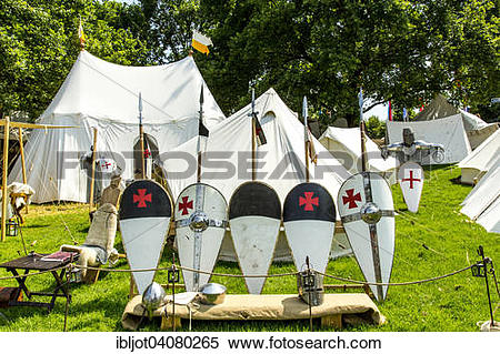 Stock Image of Medieval spectacle, joust with knights' camp, at.