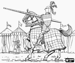 Een gewapende Ridder in het kamp kleurplaat.
