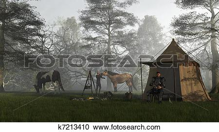Stock Illustrations of Morning in the Knights Camp k7213410.