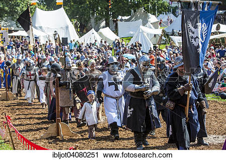Stock Photography of Medieval spectacle, joust with knights' camp.