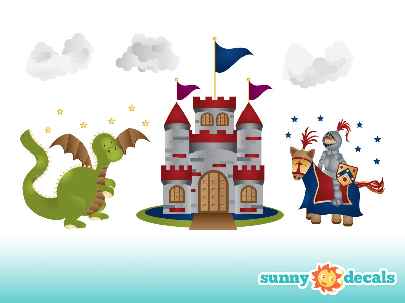 Dragon and Castle Clip Art.