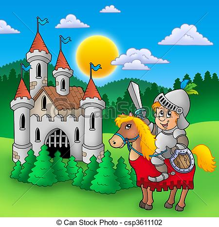 Clip Art of Knight on horse with old castle.