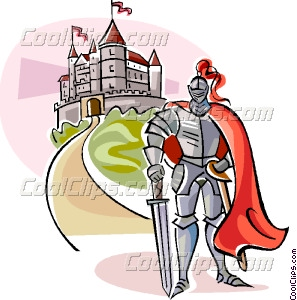 Medieval Knight with Castle Vector Clip art.