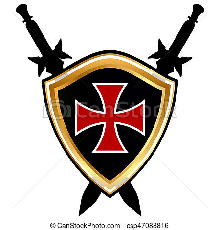 Templar Shield vector icon..