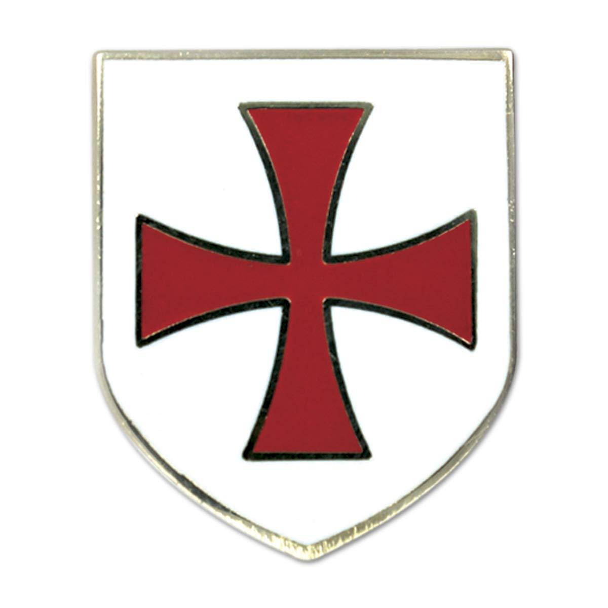 Knights Templar Crusader Red Cross White Shield Freemasonic Lapel Pin.