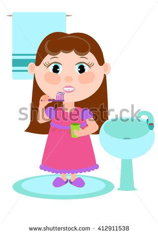 Young Girl Brushing Her Teeth Stock.
