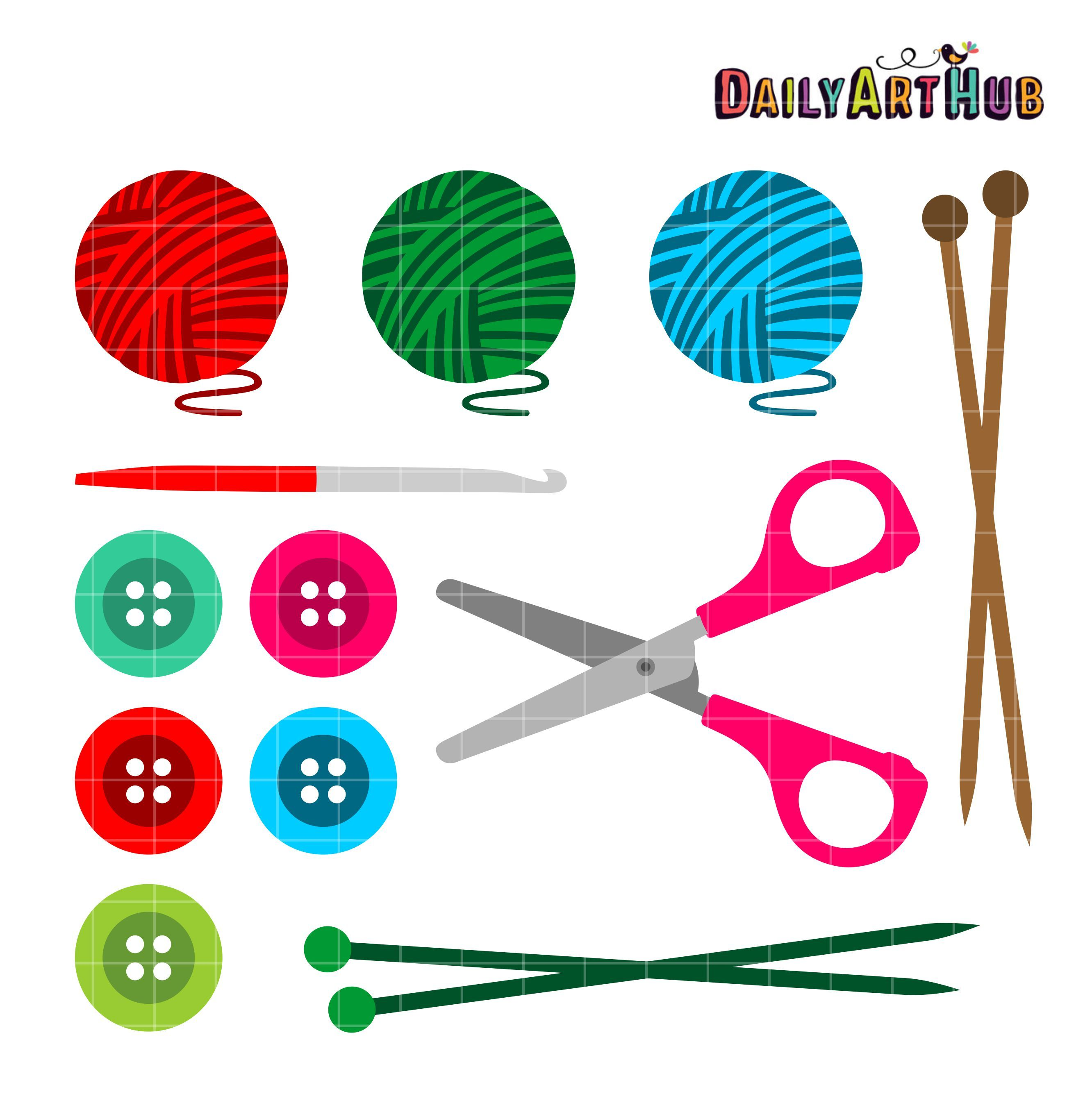 Knitting And Crochet Clip Art Set.