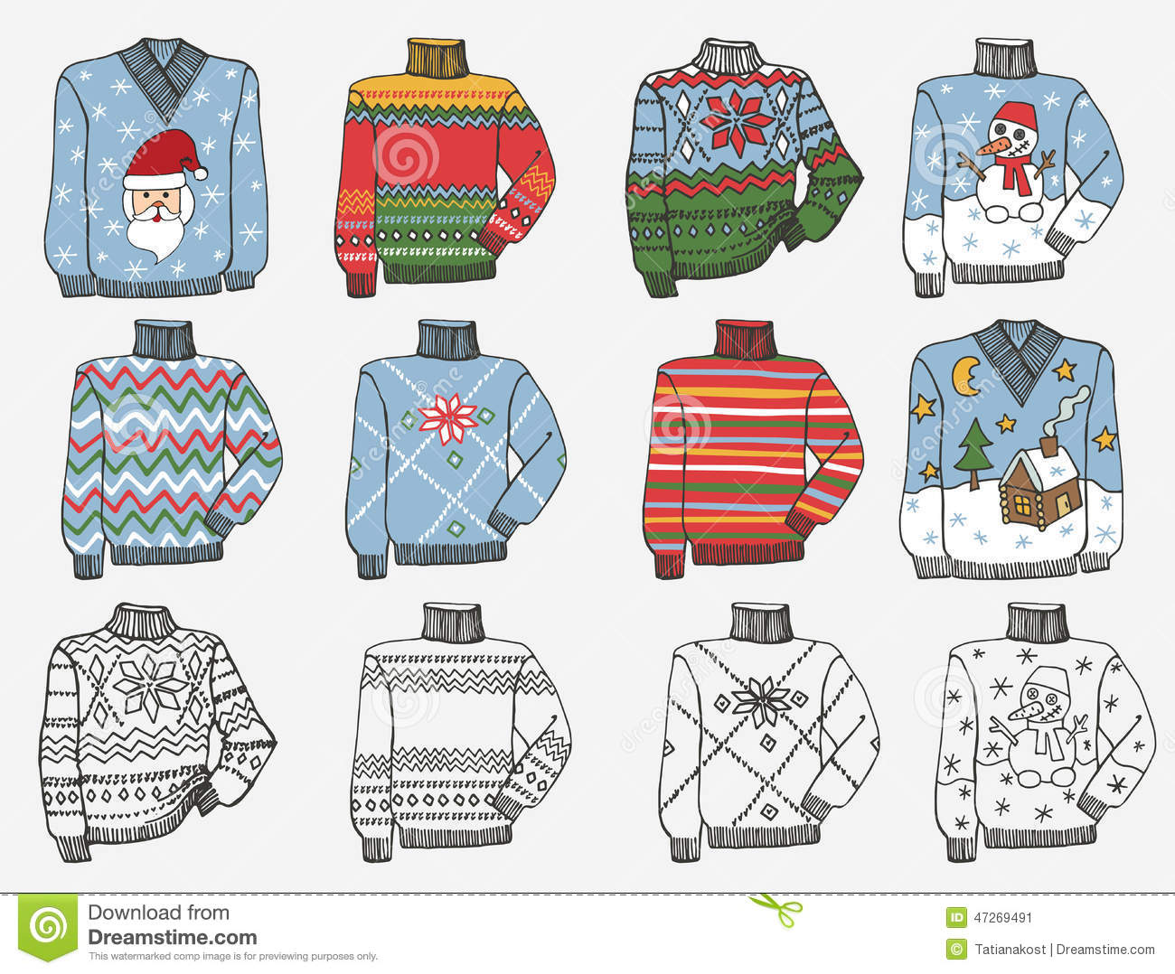 Fashionable Knitted Sweaters. Doodle Hand Sketch Stock Vector.