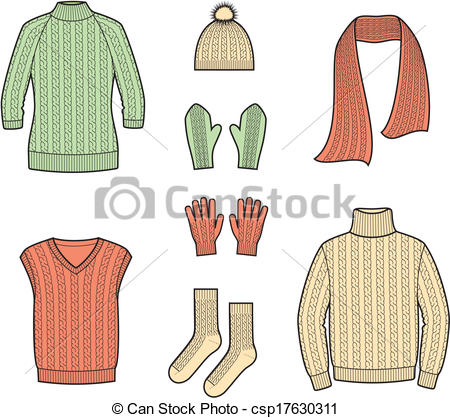 Clip Art Vector of Knitted jumpers.