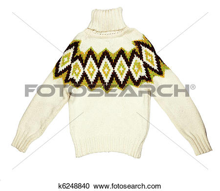 Stock Photography of bright knit sweaters knitted with a pattern.