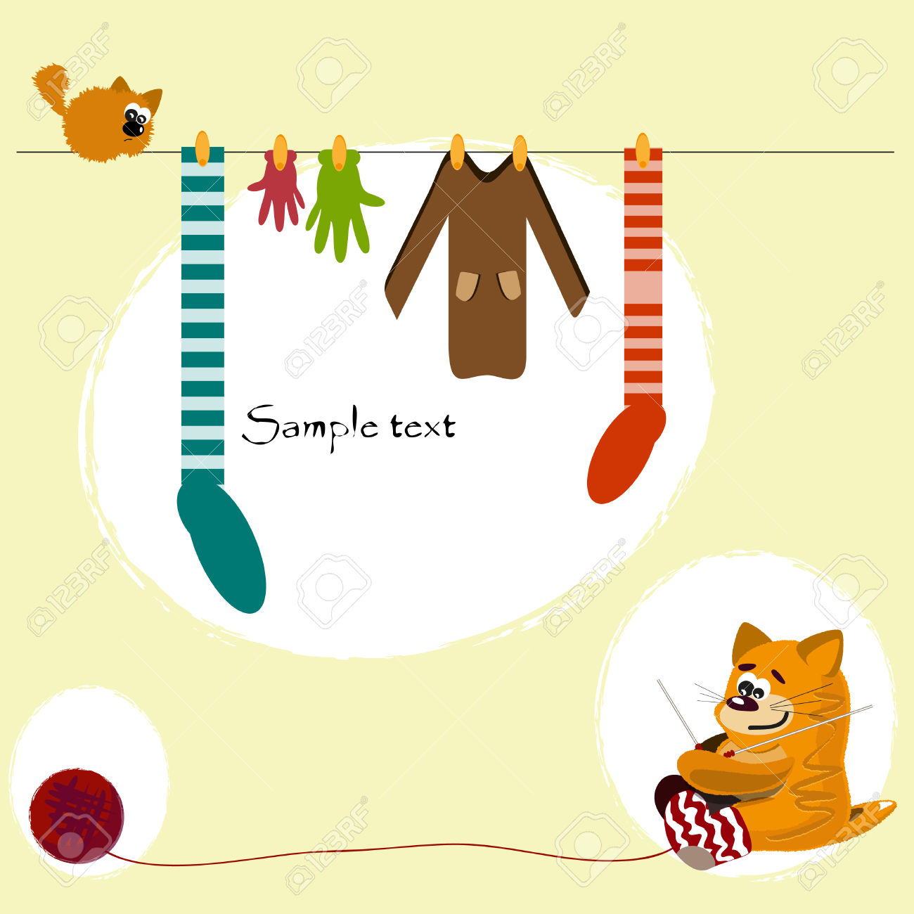 Red Cat Knit Socks, Gloves And Sweaters Royalty Free Cliparts.
