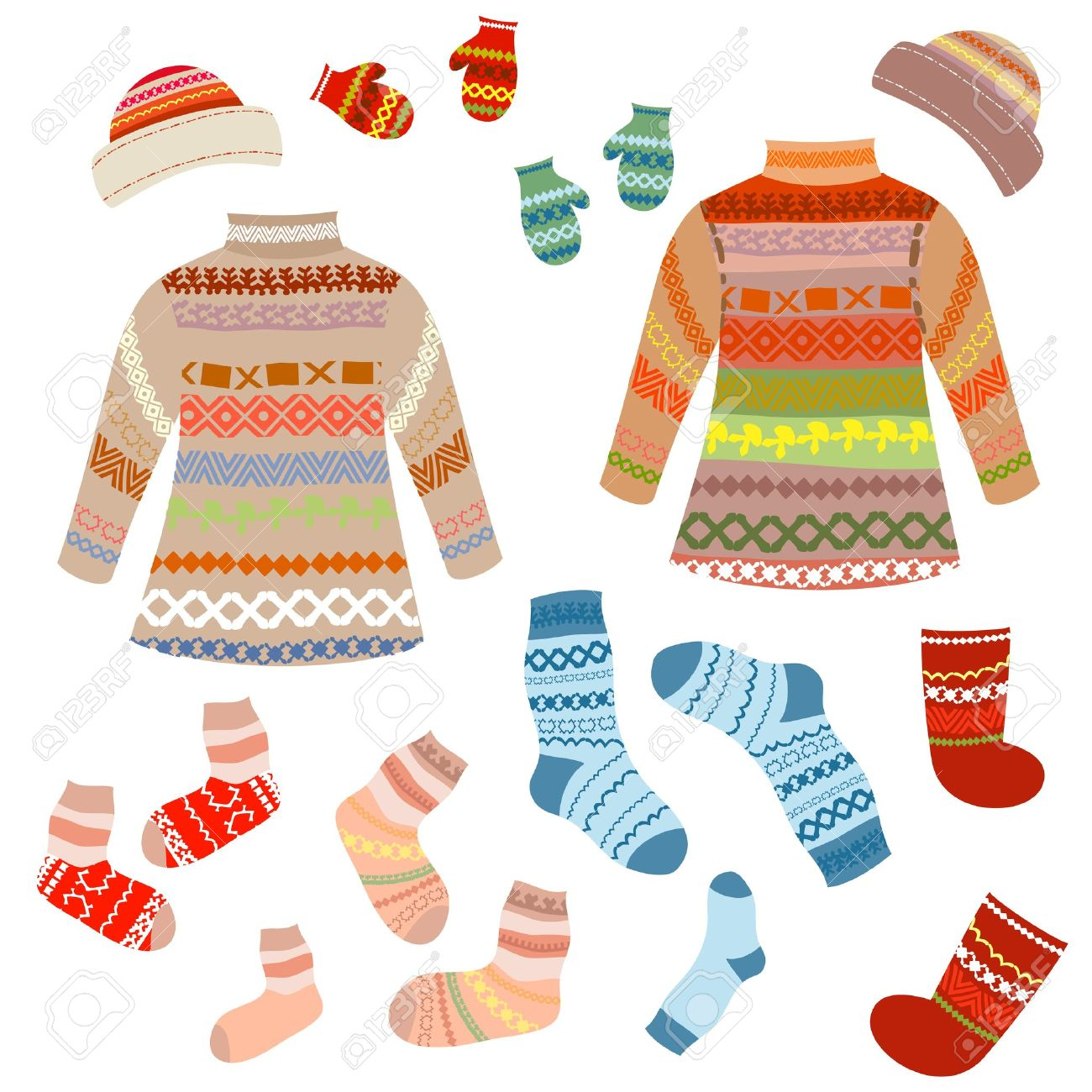 Knit socks clipart #15