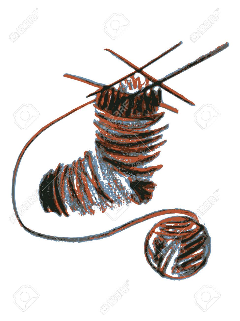 Hand Drawn, Cartoon, Sketch Illustration Of Knitting Sock Royalty.