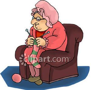 Woman Knitting a Sock.