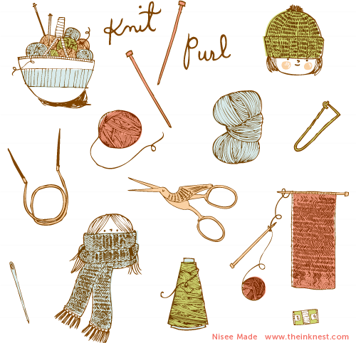 Clip Art Knitted Scarves Clipart.