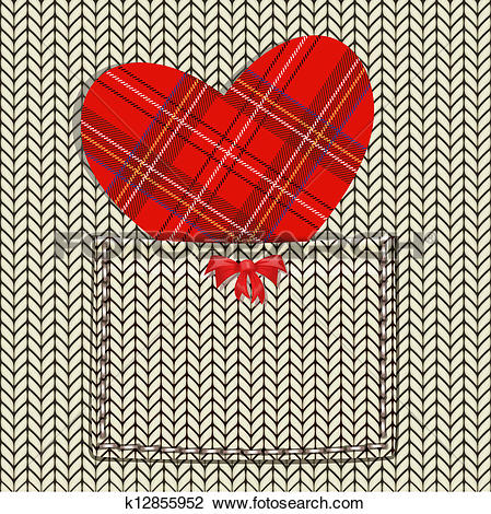 Clipart of knitted fabric for Valentine k12855952.