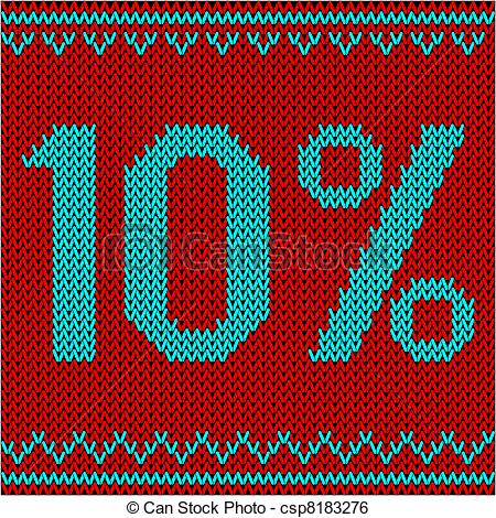Vector Clipart of knitted fabric with patterns.