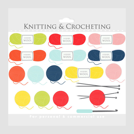 INSTANT DOWNLOAD, crochet and knitting clipart for commercial or.