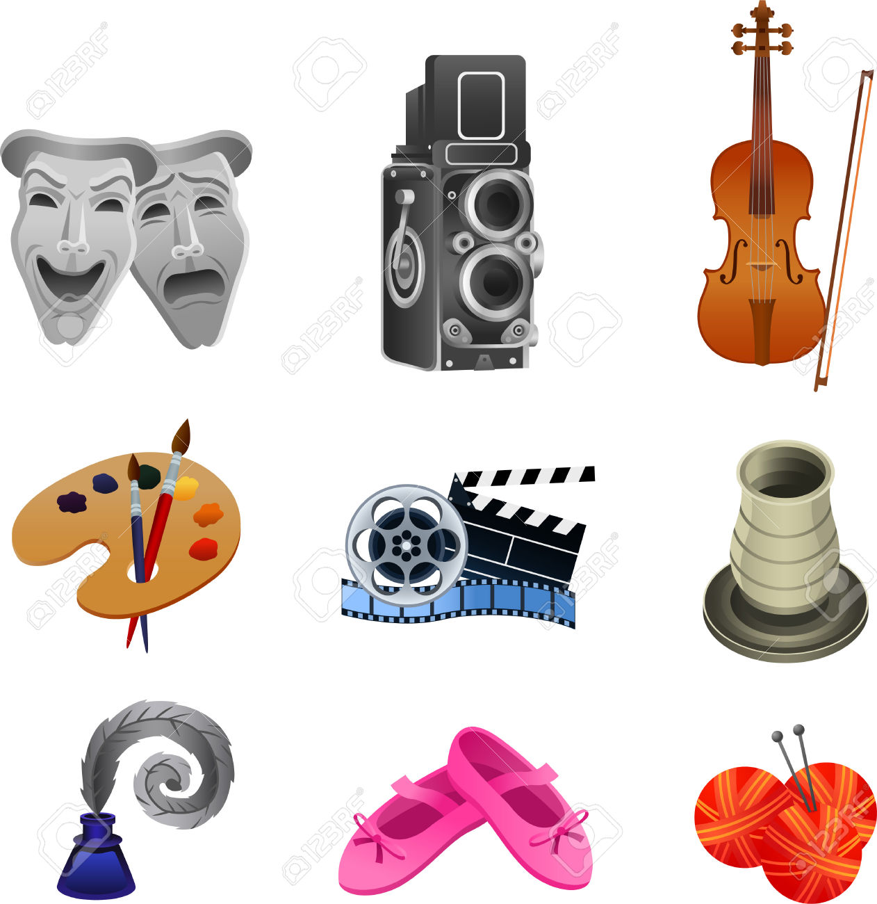 Arts Icon Collection, With Theater Masks, Theater, Concert, Violin.