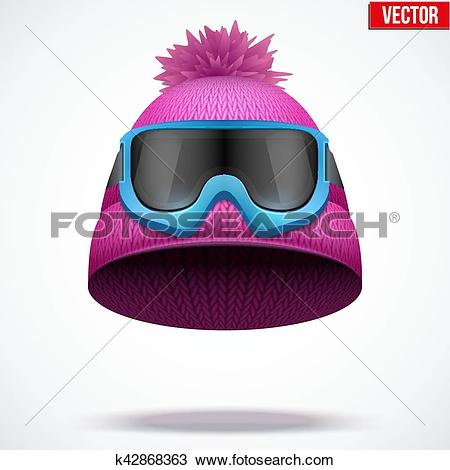 Clipart of Knitted woolen red cap with snow goggles. k42868363.