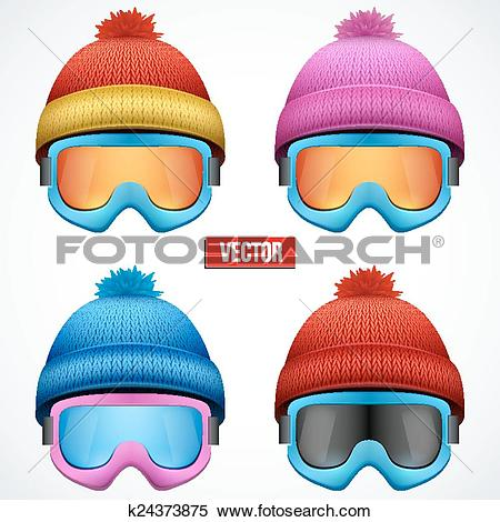 Clipart of Knitted woolen cap with snow goggles. Winter seasonal.
