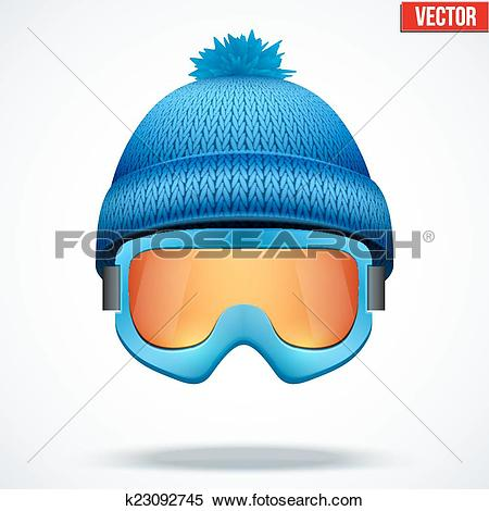 Clipart of Knitted woolen blue cap with snow goggles. Winter.