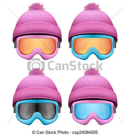 Vector Clipart of Set of Knitted woolen pink caps with snow.
