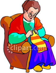 Lady Knitting a Scarf.
