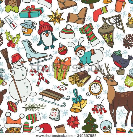Christmas Season Doodle Seamless Pattern.Winter Decoration.