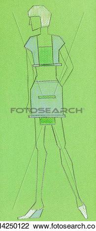 Clip Art of sketch of knitted women wear k14250122.