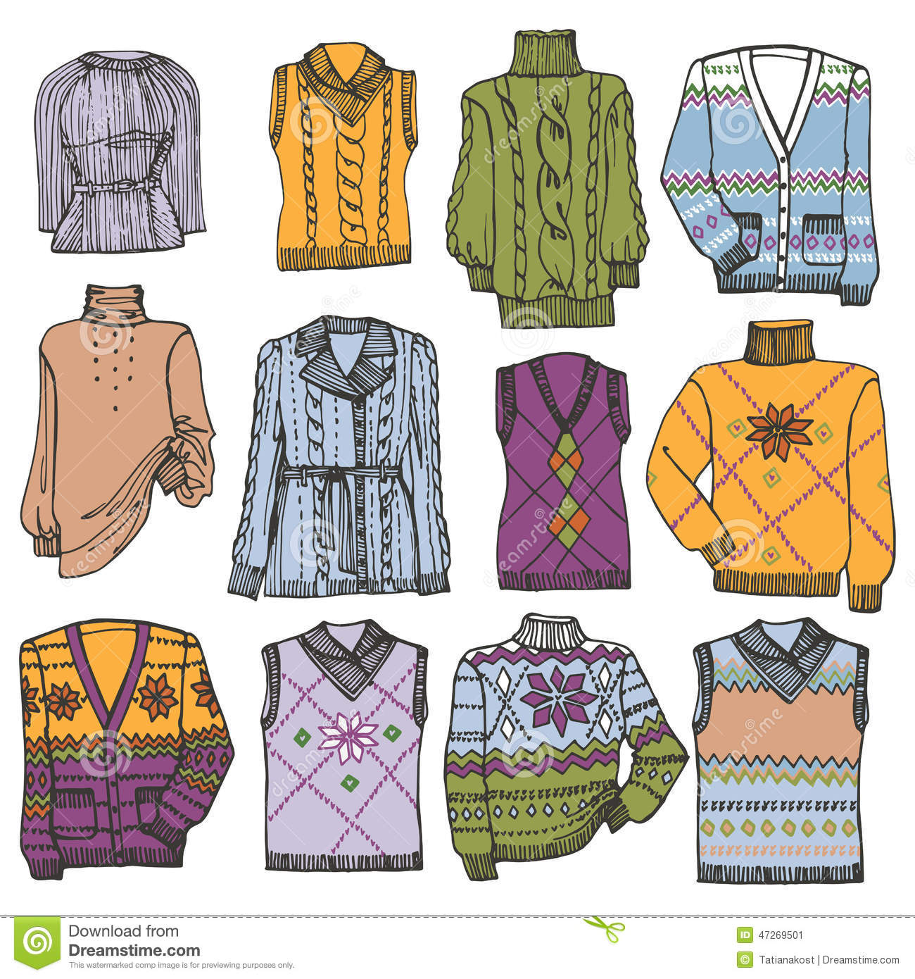 Fashion Sketchy.Different Knitted Clothing Set Stock Vector.