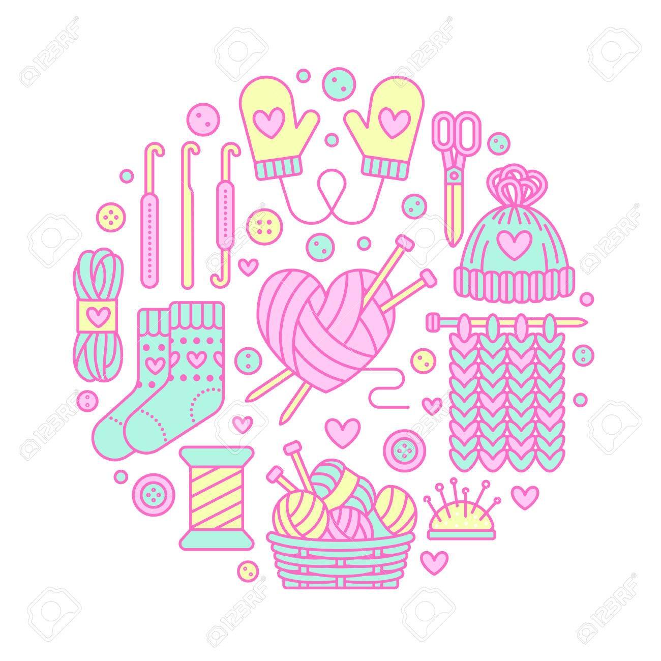 Knitting, crochet, hand made banner illustration. Vector line...