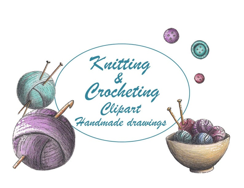 Knitting clipart / clipart crocheting / knitting & crocheting / download /  downloadclipart / handmade drawings.