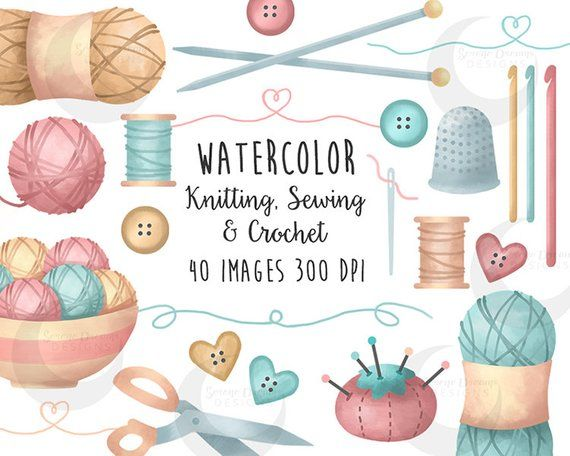 Crafts Clipart Knitting, Sewing and Crochet Watercolor Set.