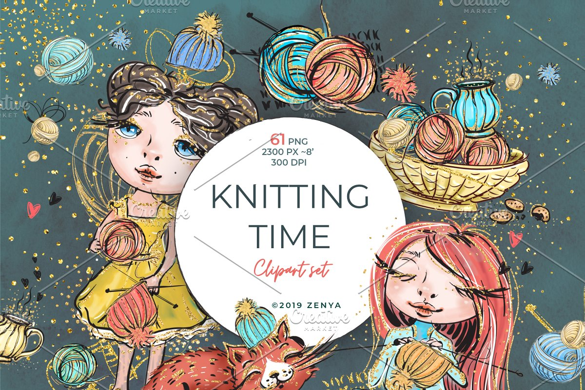 Knitting Time clipart set.