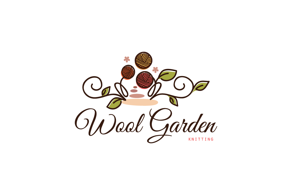 Wool Garden Knitting Logo Design.