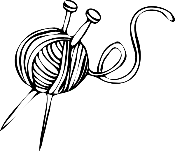 White Yarn Ball With Knitting Needles Clip Art at Clker.com.