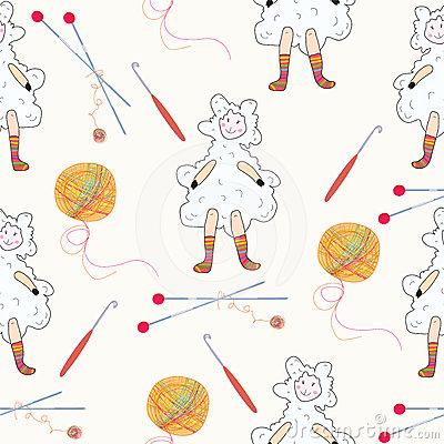 Knitting Sheep Cartoon Illustration Stock Photos.