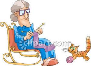 Grandmother Knitting Clipart.