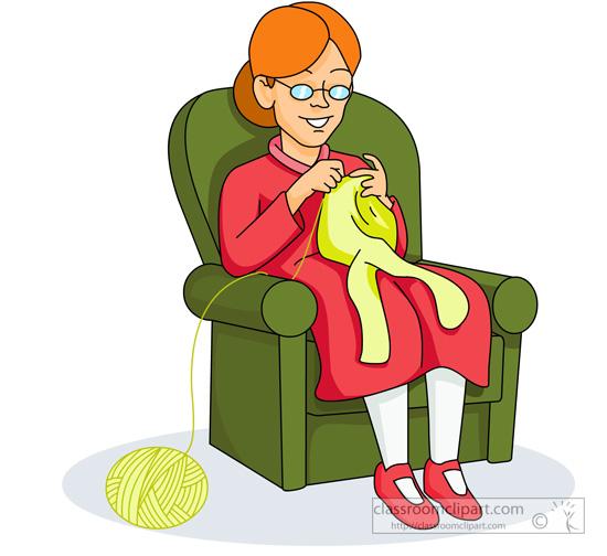 Woman Knitting Clipart.