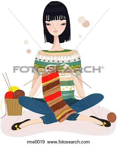 Stock Illustration of A woman sitting and knitting rme0019.