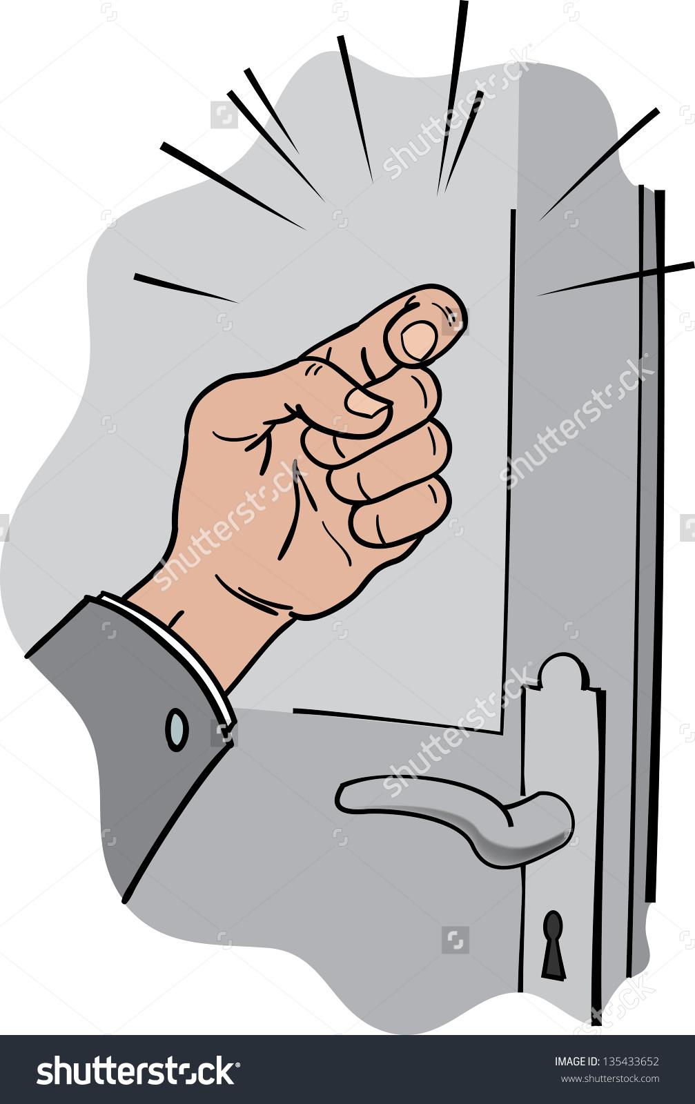 Hand knocking on door clipart.