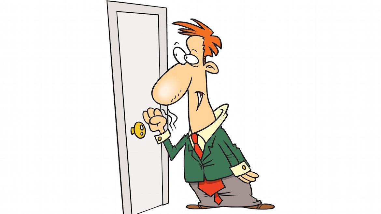 Girl Knocking On Door Clipart.