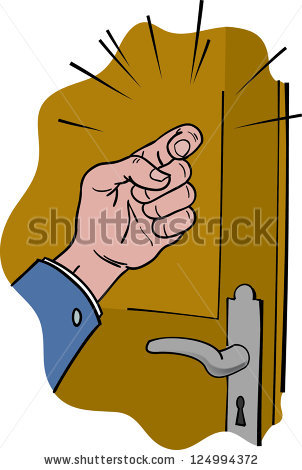 Knocking on door clipart.