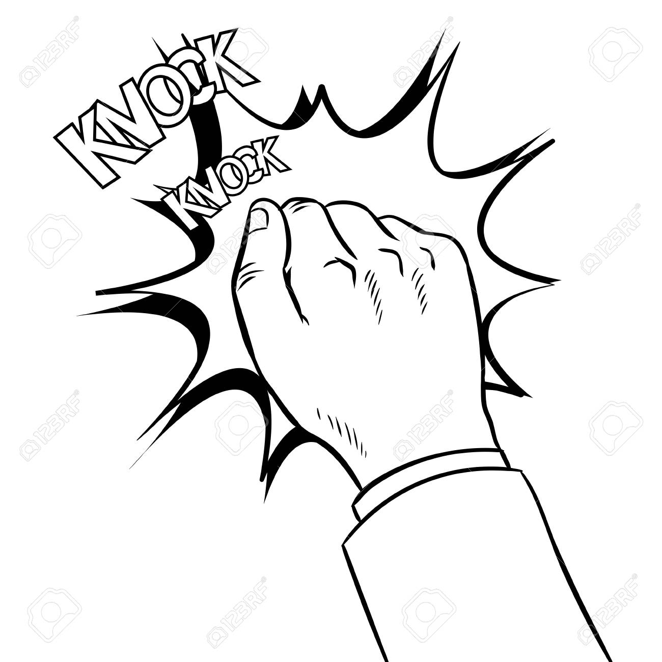 Hand knocking door coloring book vector.